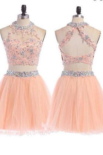 Peach Homecoming dress, 2 pieces homecoming dress, short homecoming dress 837