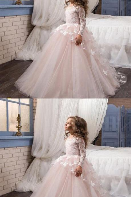 Cute Pink Lace Tulle Long Flower Girl Dress, Litter Girl Dress 878