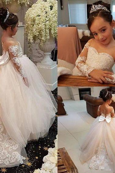 Adorable Lace Ball Gown Flower Girl Dress For Wedding 886