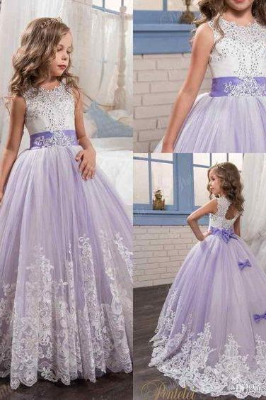 Charming White And Purple First Communion Dress For Girls Ball Gown 890