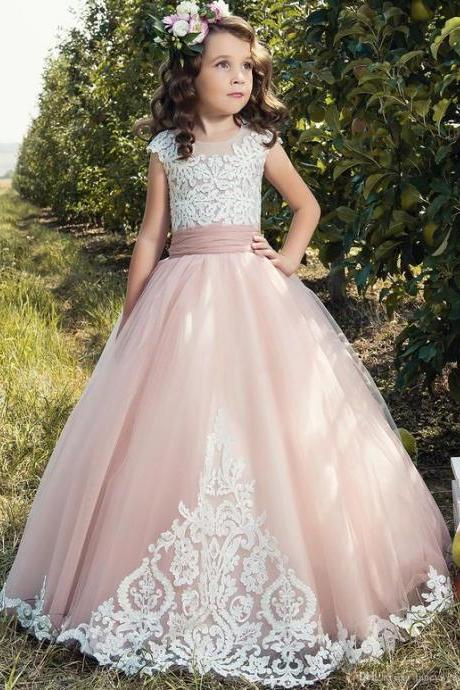 Charming Scoop Neckline Floor-length Ball Gown Flower Girl Dress With Lace Appliques 893