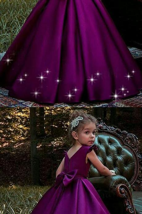Simple Purple Satin Scoop Neckline Floor-length Flower Girl Dress 894