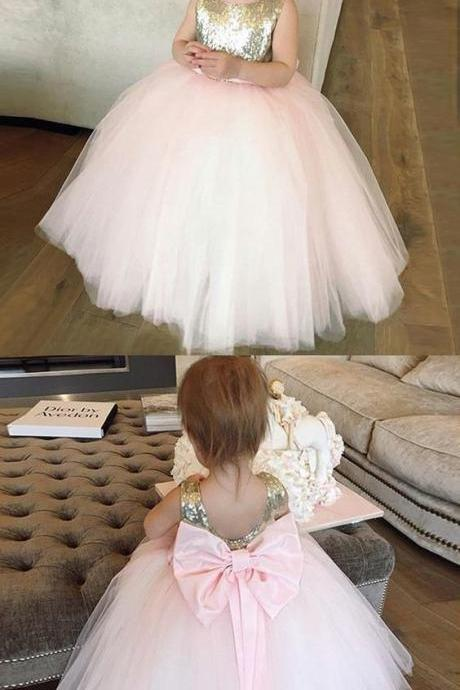 Pink Tulle Flower Girl Dress with Bow-knot Sequins 904