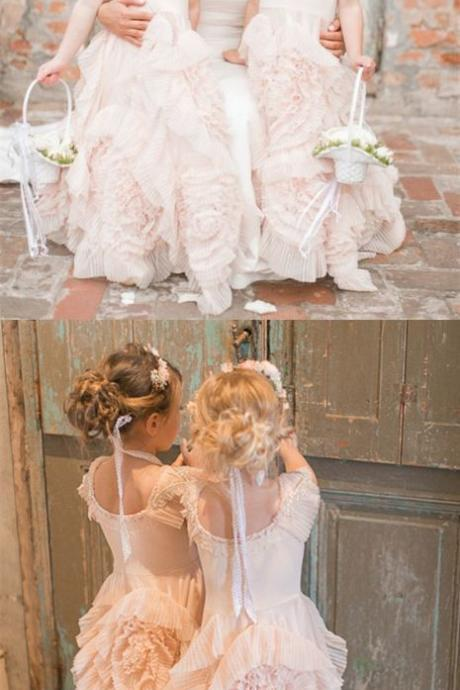 A-Line Round Neck Floor-Length Pearl Pink Tulle Flower Girl Dress with Lace 911
