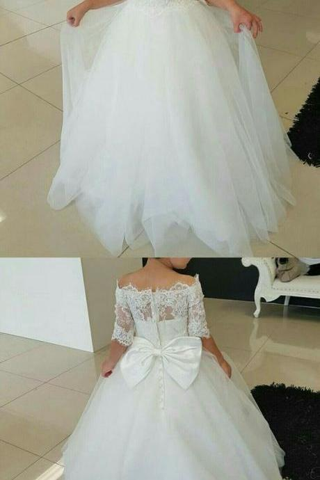 Charming Tulle & Satin Jewel Neckline Ball Gown Flower Girl Dress With Lace Appliques 913