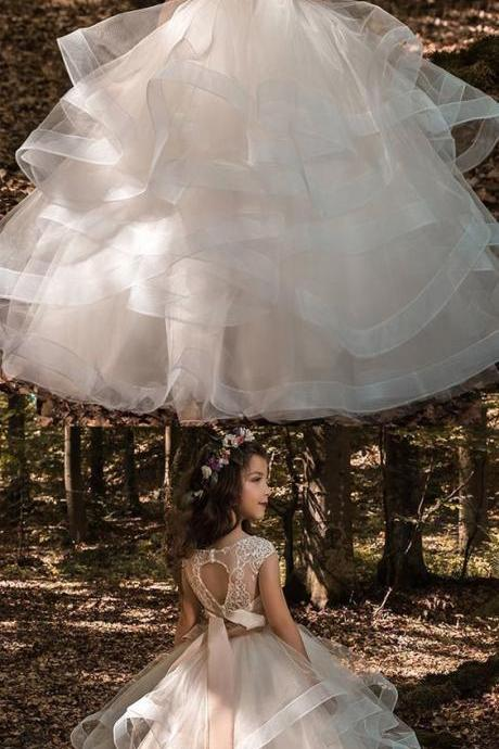 Pretty Tulle & Elasticated Net Bateau Neckline Ball Gown Flower Girl Dress With 3D Lace Appliques & Beading & Belt 916