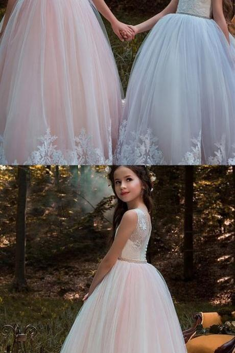 Little Girl Ball Gown, Flower Girl Dress With Lace Appliques & Beading 917