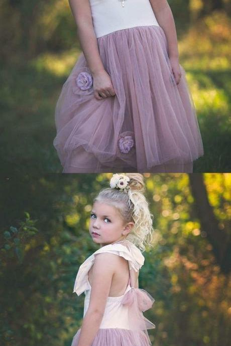 A-Line Square Neck Blush Tulle Flower Girl Dress with Flower 931