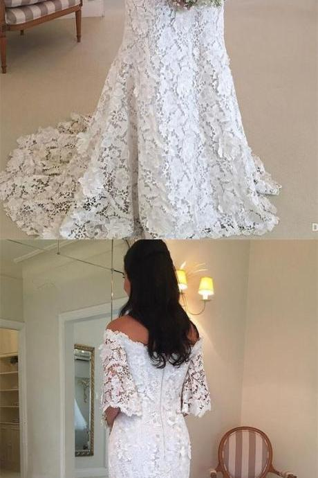 Mermaid Off-the-Shoulder Half Sleeves Lace Beach Wedding Dress 52203