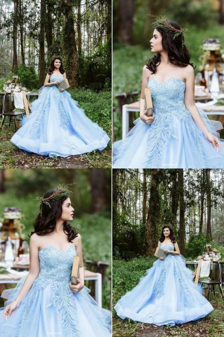 Sweetheart Blue Satin Quinceanera Dress with Appliques Beading 52207