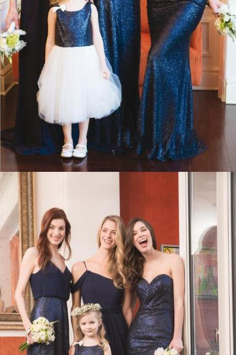 A-Line Spaghetti Straps Cold Shoulder Floor-Length Navy Blue Chiffon/Sequins Bridesmaid Dress 52219