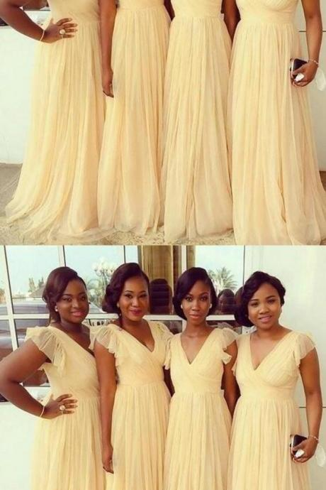 Yellow V Neck Bridesmaid Dress, Tulle Long Bridesmaid Dress 52225