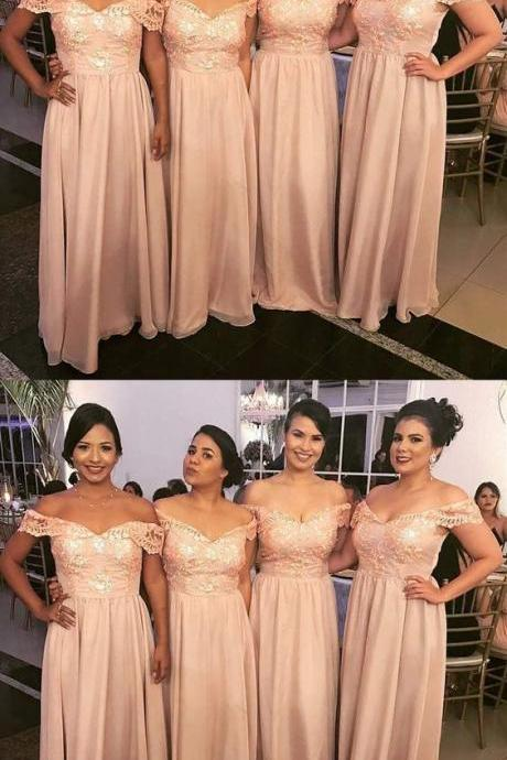 A-Line Off-the-Shoulder Pink Chiffon Bridesmaid Dress with Appliques 52226