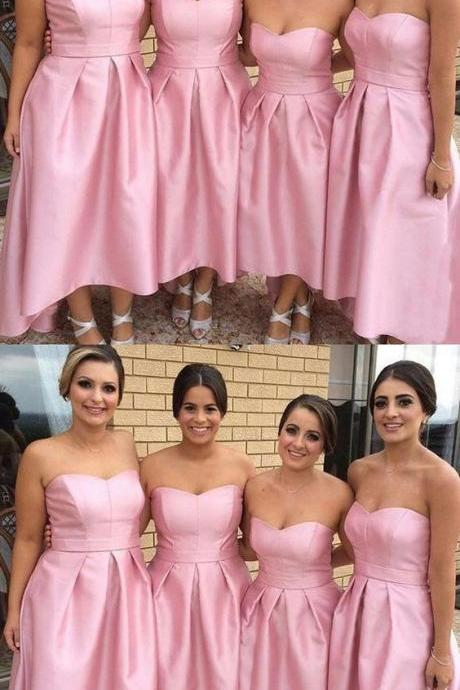 A-Line Strapless High Low Pleated Pink Satin Bridesmaid Dress 52229