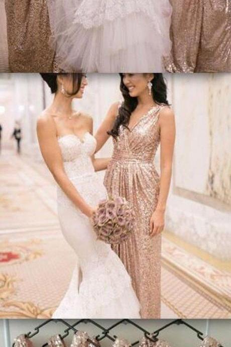 Sparkly Shinning Full Sequin Sleeveless Column Pleats V-Neck Long Bridesmaid Dress 52248