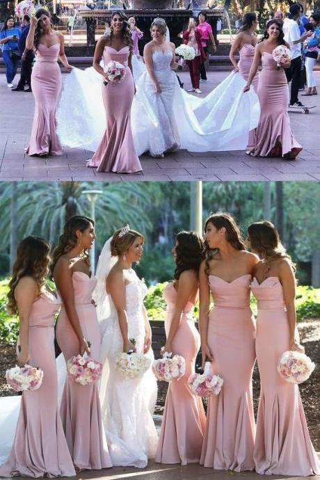 Elegant Sweetheart Mermaid Prom Dress Blush Pink Bridesmaid Dress With Sweep Train 52256
