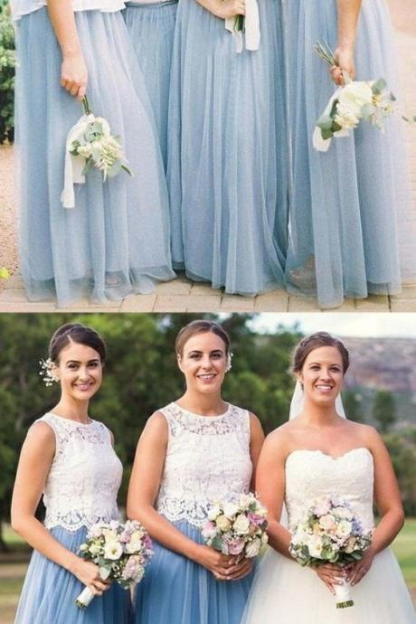 A-Line Round Neck Long Sky Blue Bridesmaid Dress with Lace 52259