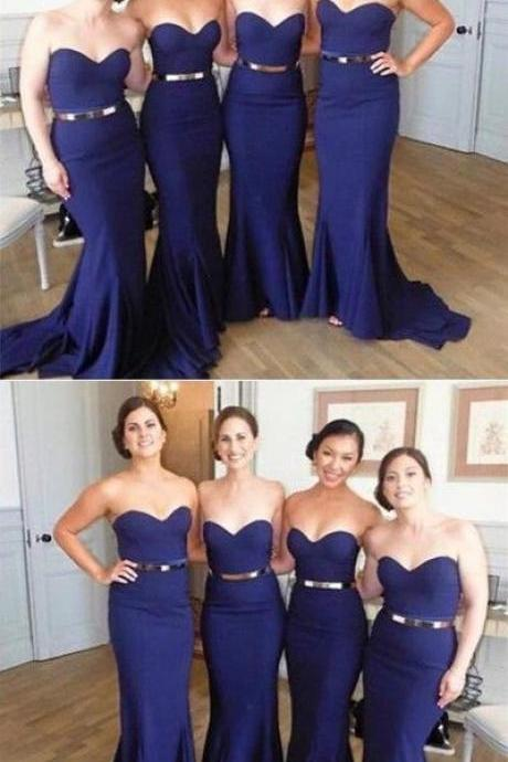 Sweetheart Bridesmaid Dress, Mermaid Prom Dress, Navy Blue Long Evening Dress 52264
