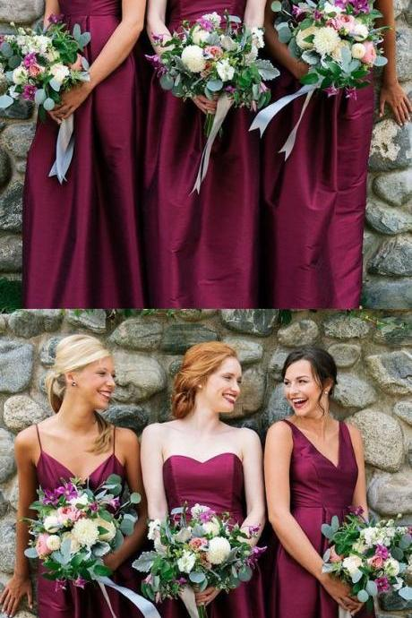 A-Line V-Neck/Sweetheart Floor-Length Fuchsia Satin Bridesmaid Dress 52283
