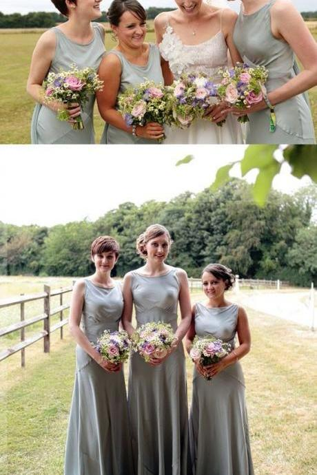 Elegant Round Neck Column Wedding Party Long Bridesmaid Dress 52305