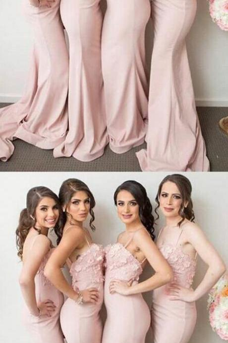 Stylish Mermaid Long Bridesmaid Dress with Appliques 52327