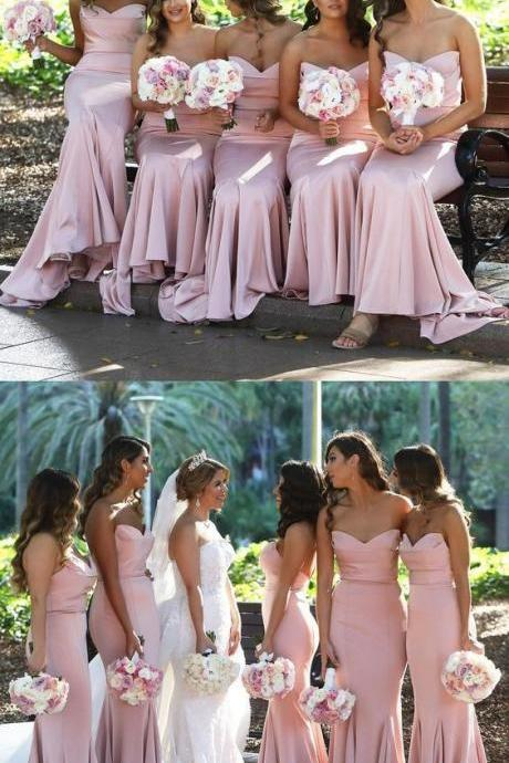 long bridesmaid dress, pink bridesmaid dress, sweetheart mermaid bridesmaid dress, wedding party dress 52331