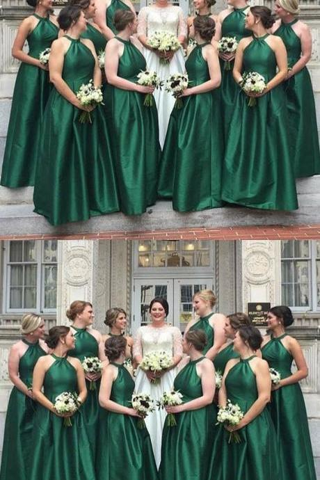 A-Line Round Neck Floor-Length Hunter Satin Bridesmaid Dress 52346