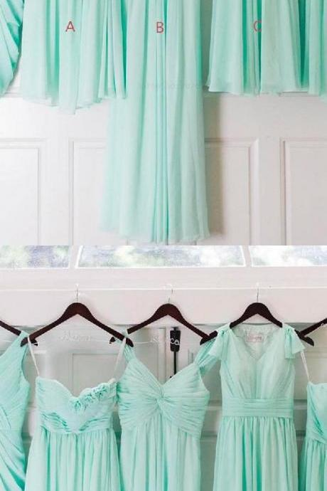 A-LINE PROM DRESS, MINT GREEN PROM DRESS, CHIFFON PROM DRESS 52364