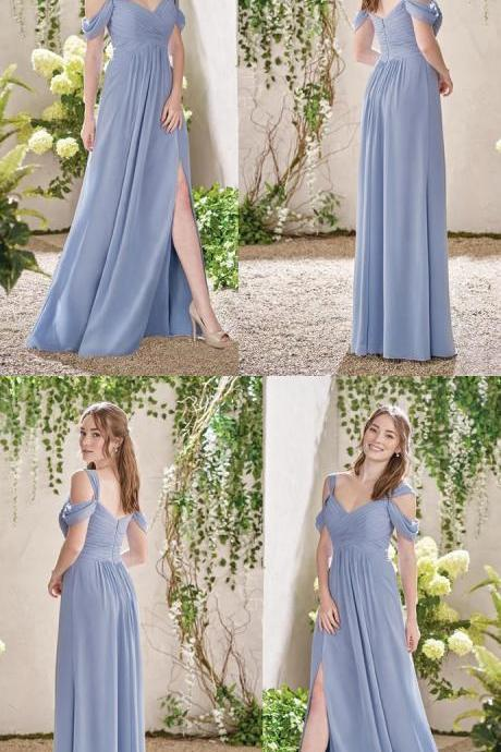 Chiffon Bridesmaid Dress, A-Line V-Neck Floor-Length Bridesmaid Dress 52373
