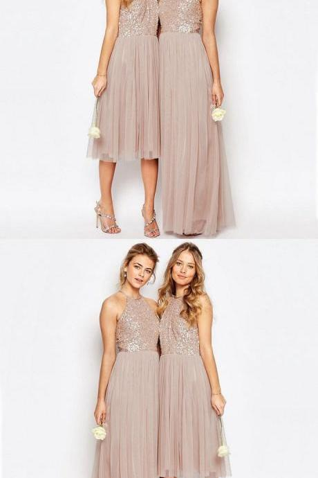 Charming Sequin Top Tulle Sparkly Short/Long Romantic Bridesmaid Dress 52397