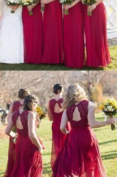 Sexy Red Wedding Party Dress, Lace Bridesmaid Dress, Chiffon Bridesmaid Dress 52402