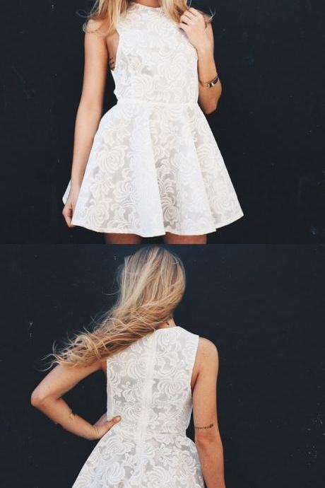 A-Line Jewel Sleeveless White Lace Short Homecoming Dress 951