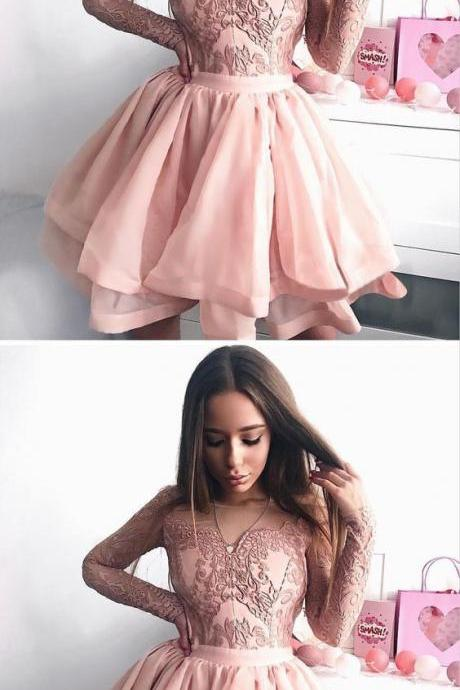 A-Line Bateau Long Sleeves Pink Tulle Homecoming Dress with Appliques 1024