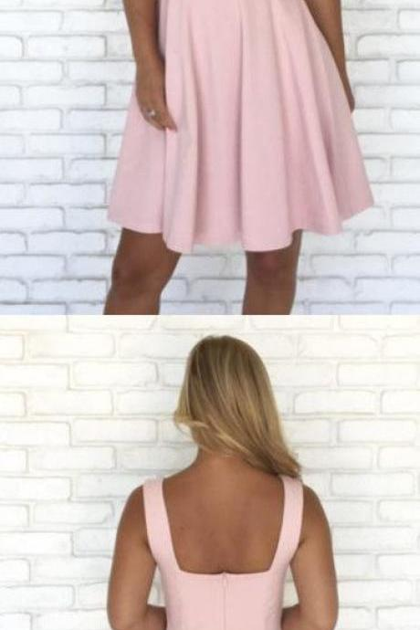 pink cocktail dress, Short Square Homecoming Dress 1073