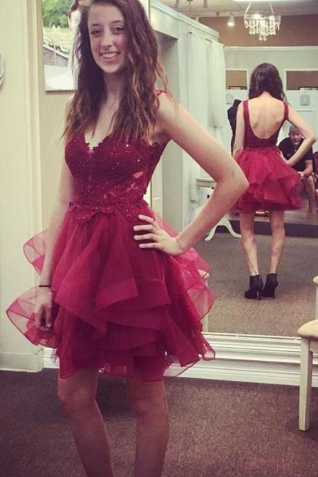 A-Line V-Neck Backless Burgundy Tiered Tulle Homecoming Dress with Appliques 1142