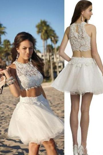 Two Piece Ivory Lace Short Prom Party Dress 1164