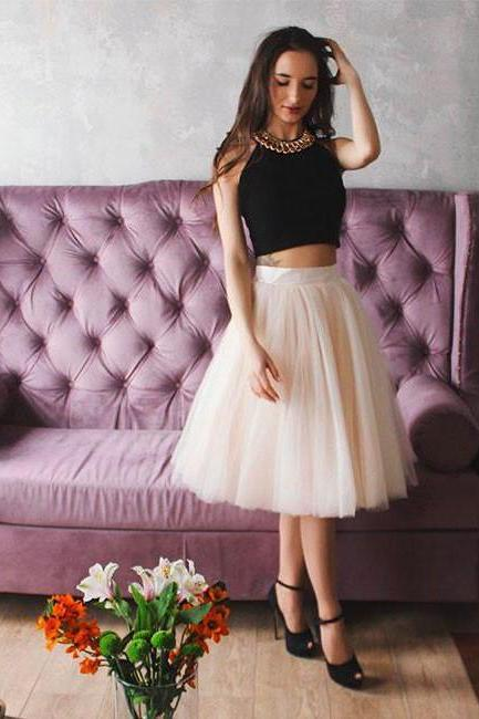 Two Piece Black Top Tulle Short Prom Party Dress 1165