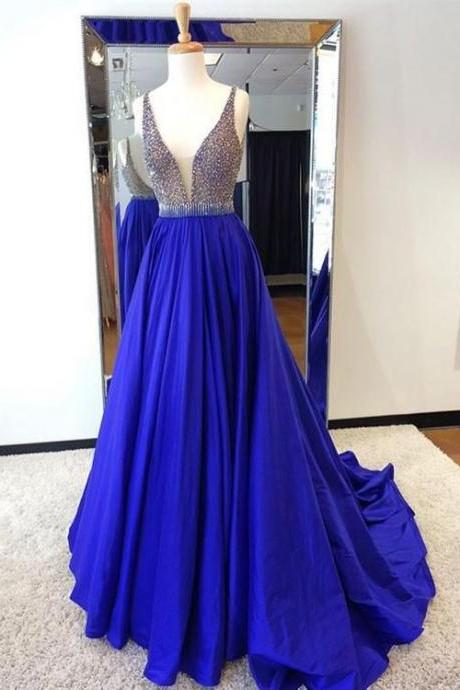 Custom made royal blue beading long prom dress, blue evening dress
