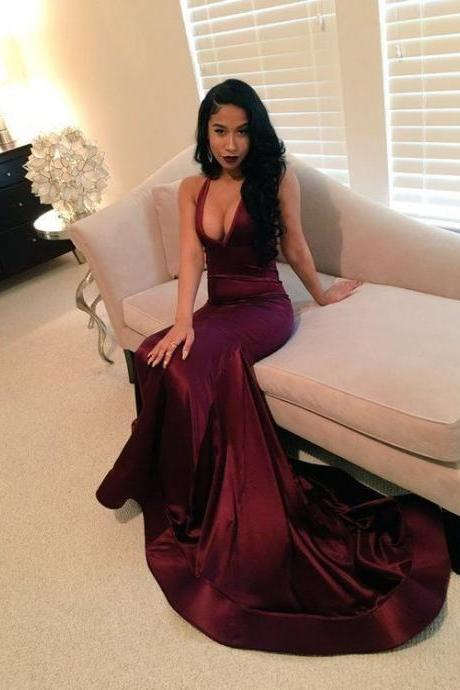 Sexy Prom Dresses,New Arrival V-neck Prom Dresses, Sexy Evening Dresses, Formal Dresses, Dark Red Party Dress, Prom Dresses Custom Made