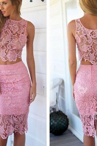 Two Piece Lace Sheath/Column Short Cocktail Party Bodycon Dresses
