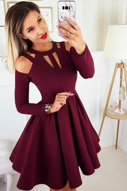 Simple burgundy short prom dress. burgundy homecoming dress