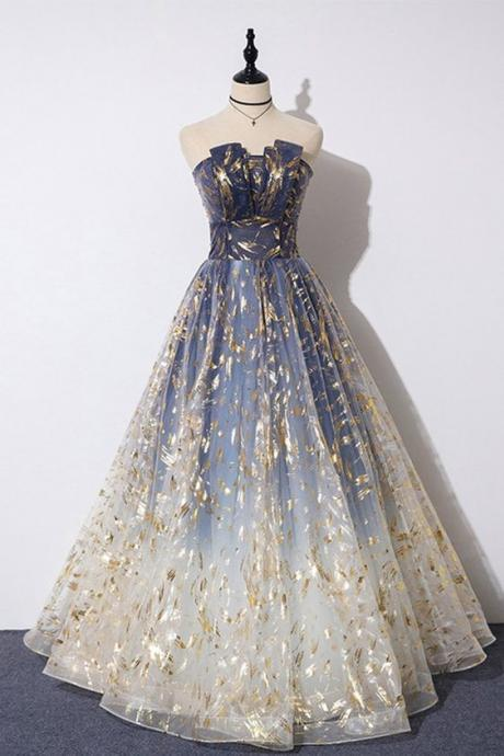 Blue Floral Print Tulle Strapless Long A Line Prom Dress, Graduation Dress