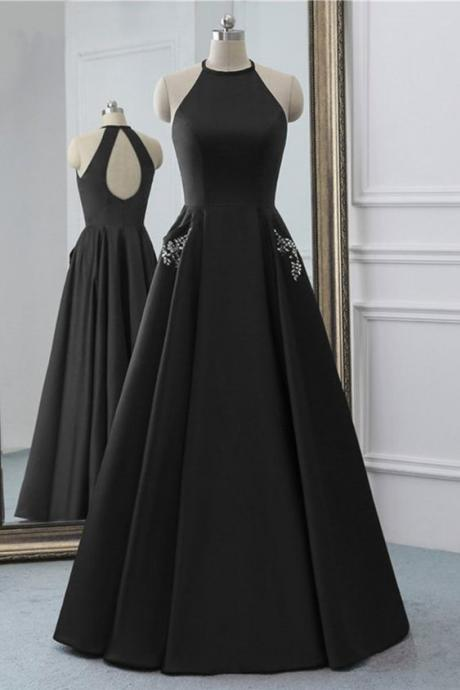 Simple Black Satin Open Back Long O Neck Prom Dress, Evening Dress