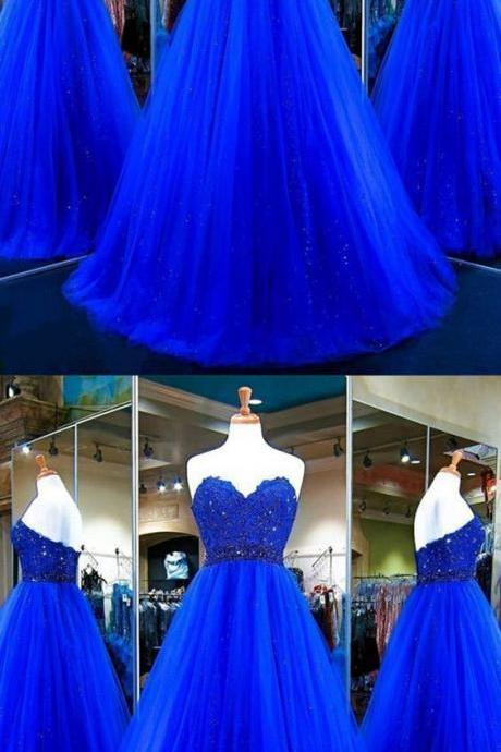 Long Prom Dress,Tulle Ball Gowns,Royal Blue Evening Dress