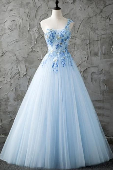 Blue One-Shoulder Prom Dresses,A-Line Beading Formal Dresses,Pleats Floor-Length Prom Dress