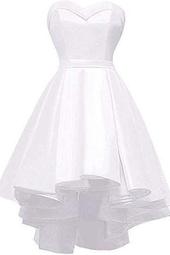 Short Strapless Homecoming Dress Sweetheart High-Low Satin Party Gown