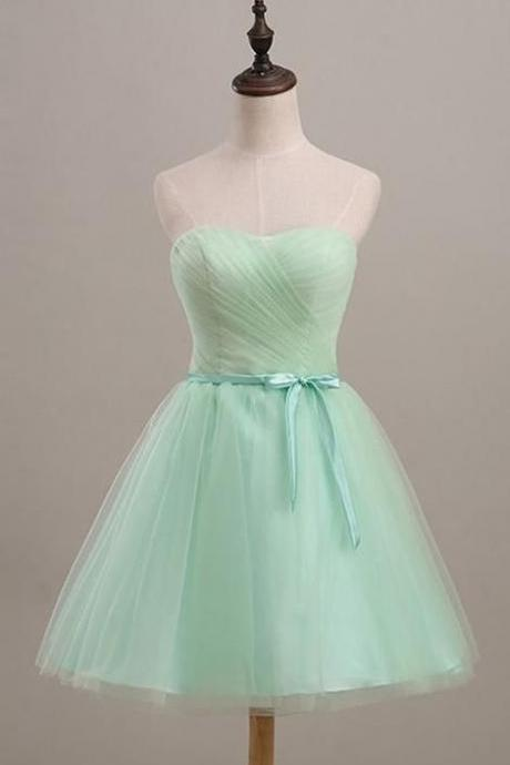 Strapless Mint Green Tulle Homecoming Dress, Cute Short Party Dress