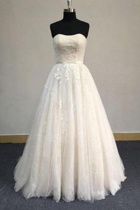 Strapless A-Line Tulle Prom Dress With Lace Bodice