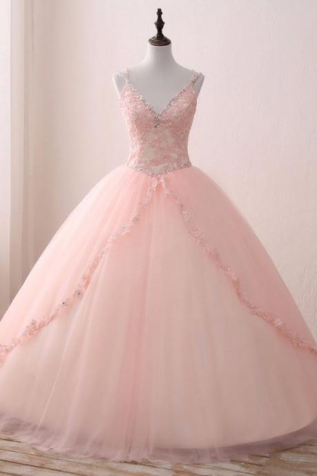 Blush Pink Tulle V neck Sweet 16 Prom Dress, Lace Long Prom Gown