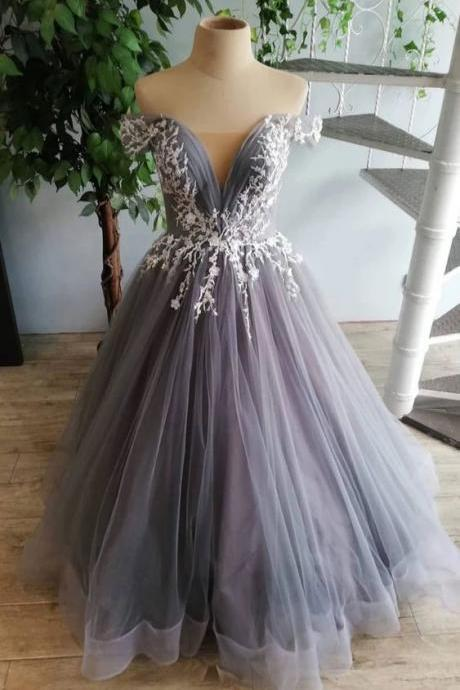 Gray Tulle Off Shoulder Long Lace Applique Senior Prom Dress, Open Back Party Dress